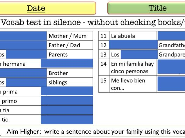 Spanish vocab tests for Claro 1 Units 1-4