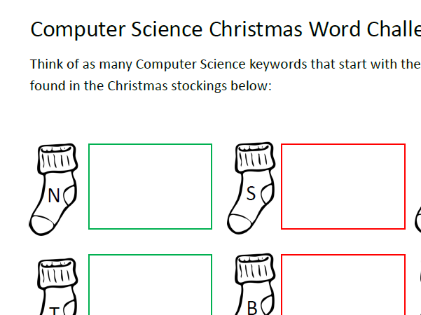 Computer Science Christmas Worksheet - Keywords