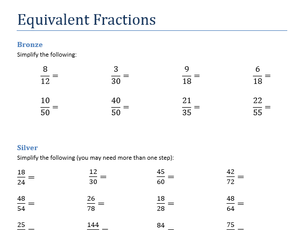 Equivalent fractions simplifying fractions ordering fractions by – Ordering Fraction Worksheets