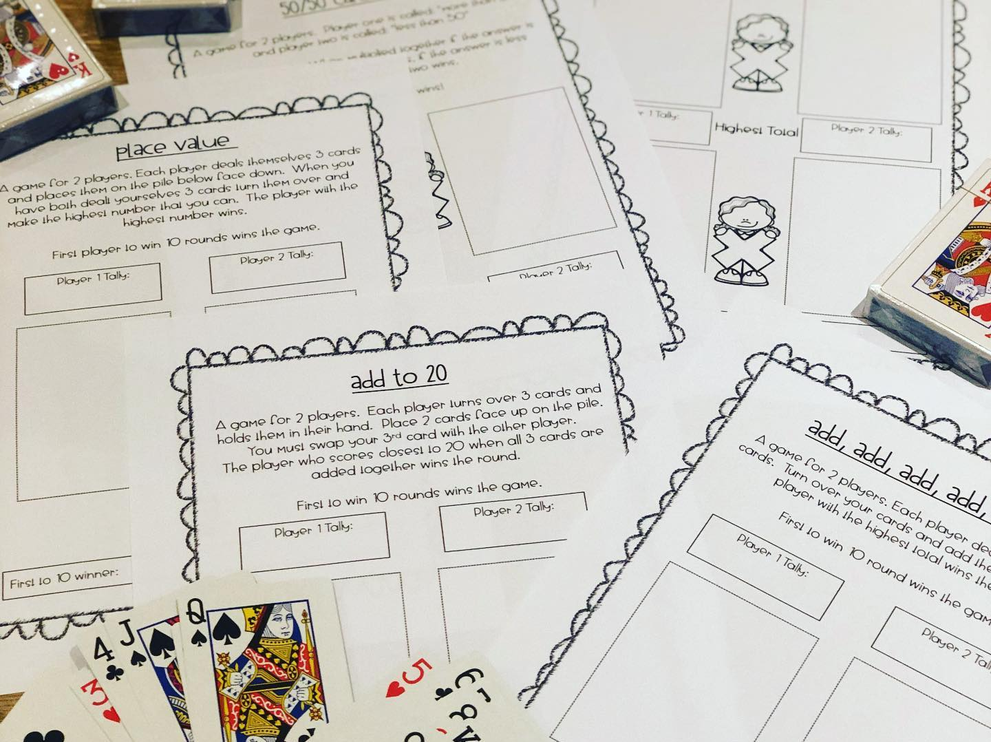 Maths Card Game Printables