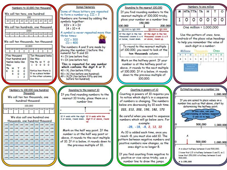 Year 5 maths mastery place value support cards for display