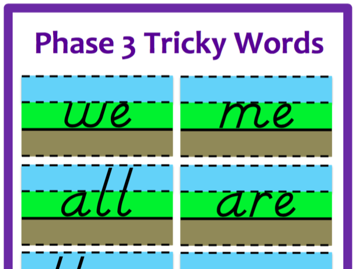 Phase 3 Sky/Grass/Mud - Tricky Words