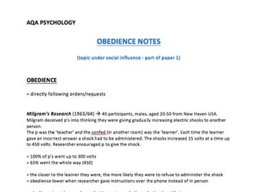 A* Obedience Notes - A Level Psychology - AQA Paper 1 - part of the social influence unit