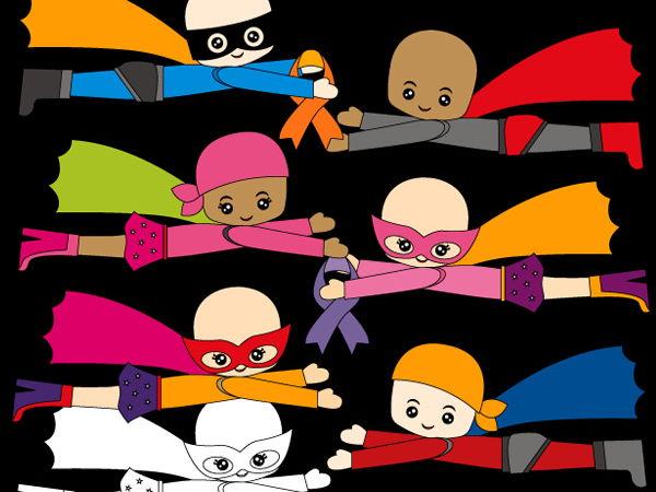 Superhero fighting cancer clip art - multi racial boys girl clipart