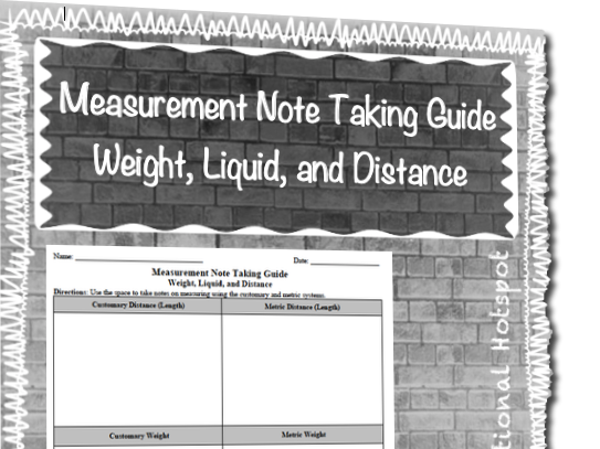 Measurement Note Taking Guide (Weight, Liquid, and Distance)