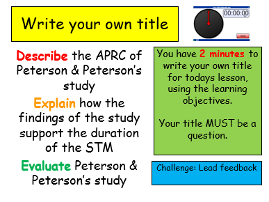 Edexcel Psychology (9-1) GCSE New Spec Unit 3 Lesson 4 - Peterson & Peterson