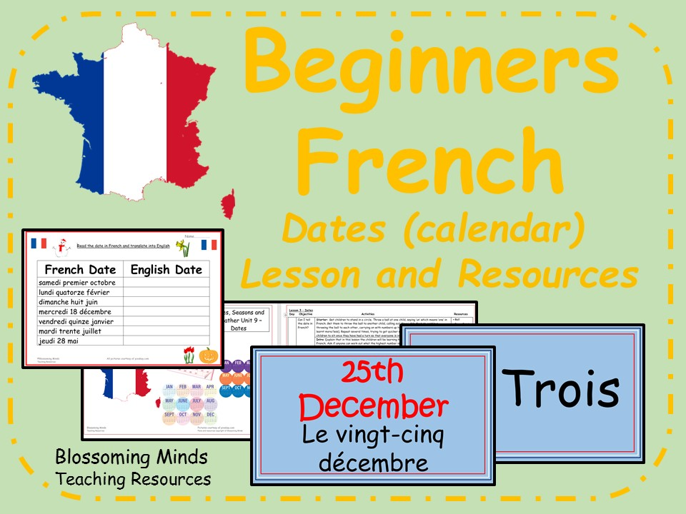 French Lesson and Resources - KS2 - Calendar (dates)