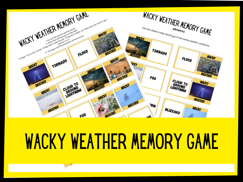 Wacky Weather memory game KS1 KS2 Primary Science