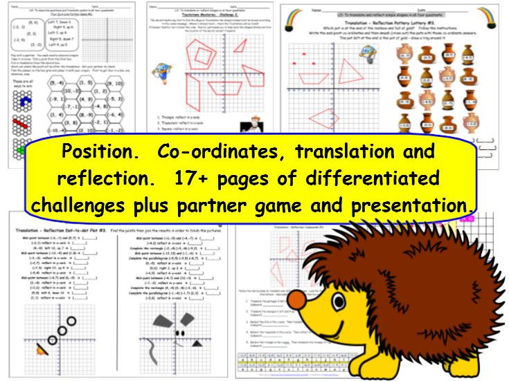 Geometry Position and Direction Y6 KS2 Differentiated Challenge Worksheets and Presentation