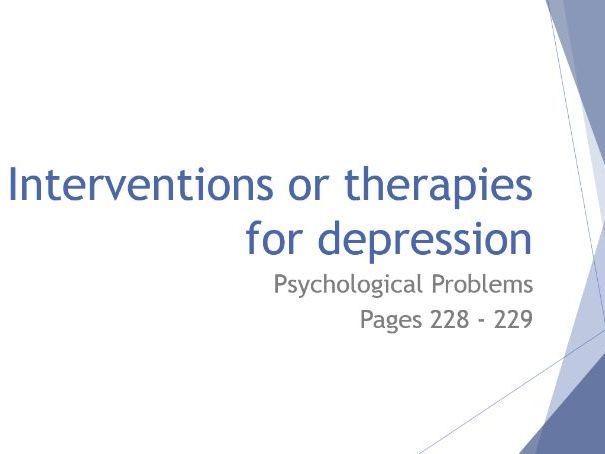 AQA GCSE Psychology - Lesson 6 - Psychological Problems - Interventions for Depression