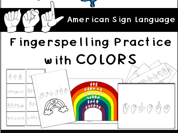 ASL Colors, Fingerspelling Practice, Interactive Notebook Activities