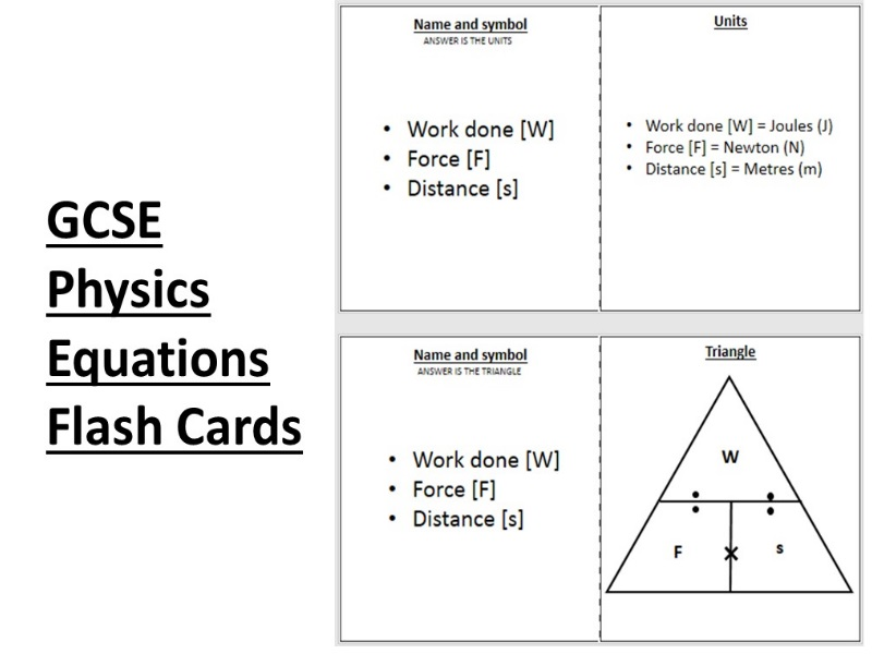 AQA GCSE Physics Equations Revision Flash cards