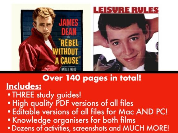 Rebel Without A Cause & Ferris Bueller's Day off Study Guides for GCSE Film Studies