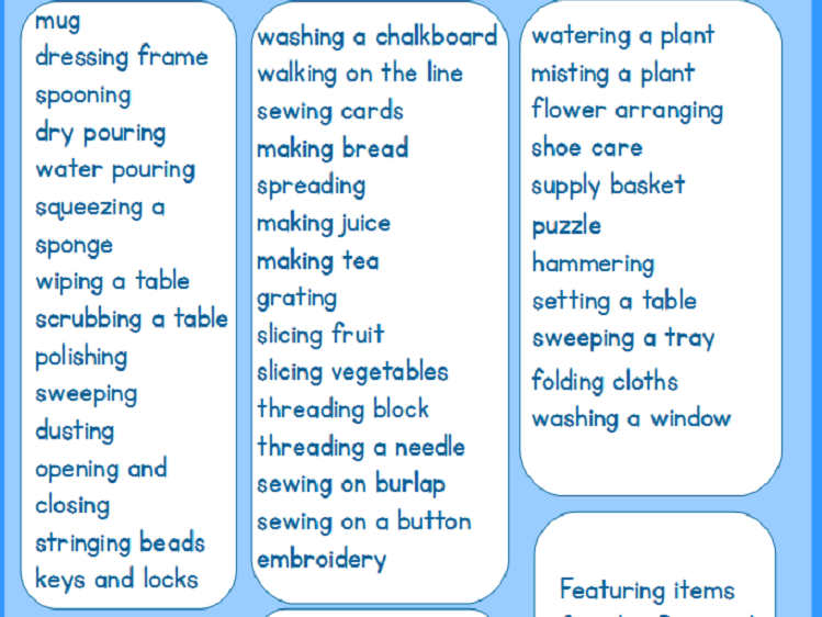 Montessori Room Labels - Set 3