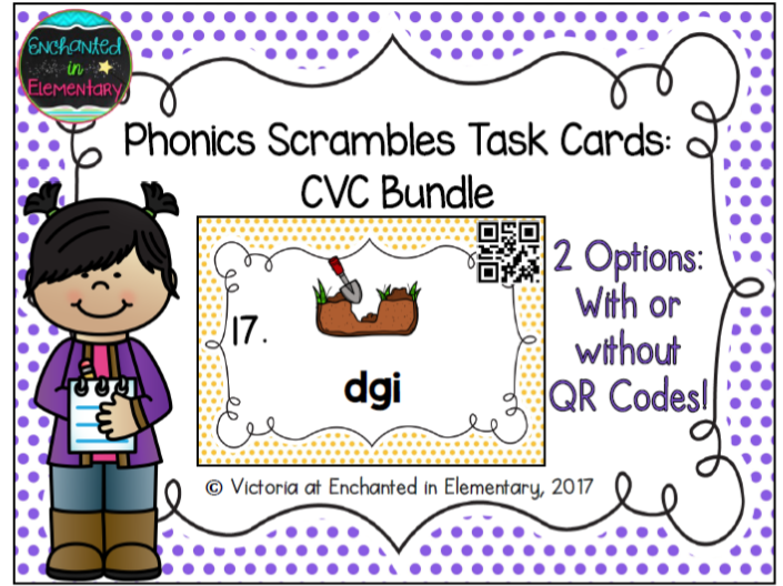 Phonics Scrambles Task Cards: Short Vowel CVC Bundle