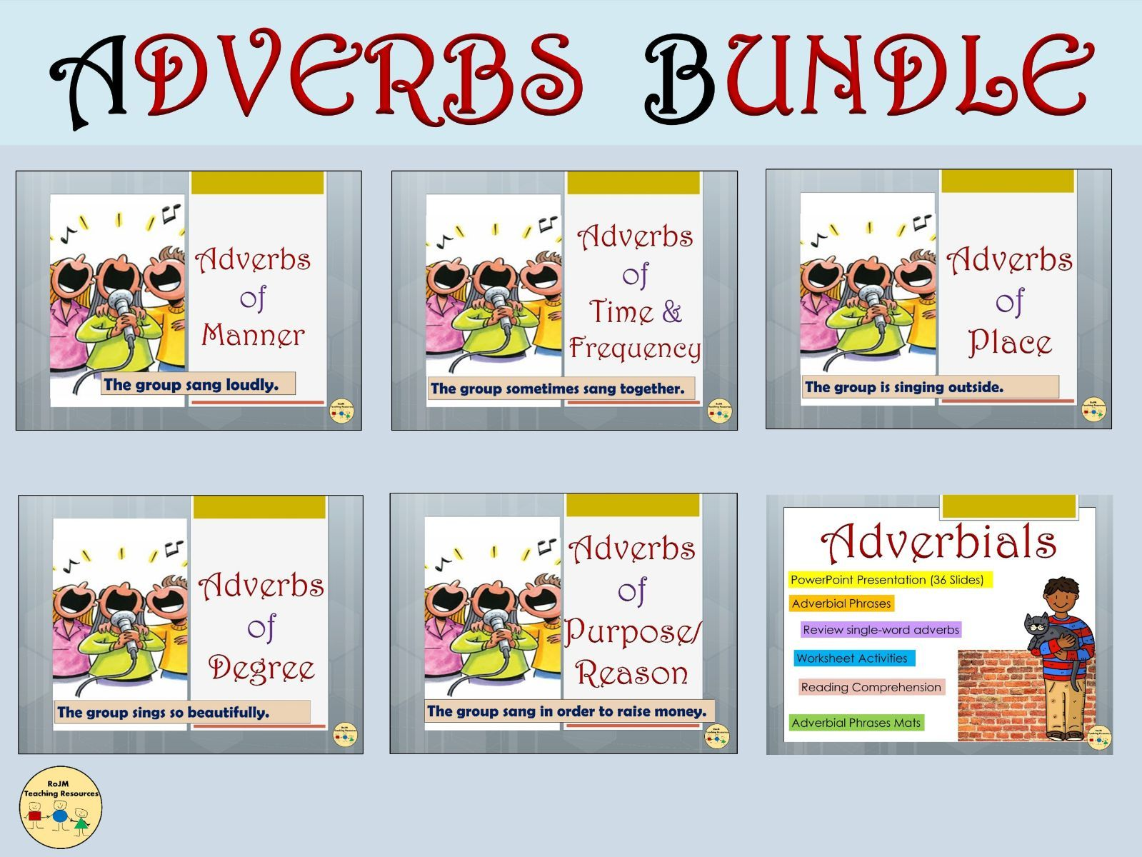 Adverbs and Adverbials BUNDLE Adverbs of Manner Time Frequency Place Degree Worksheets Posters Flashcards Vocabulary Grammar