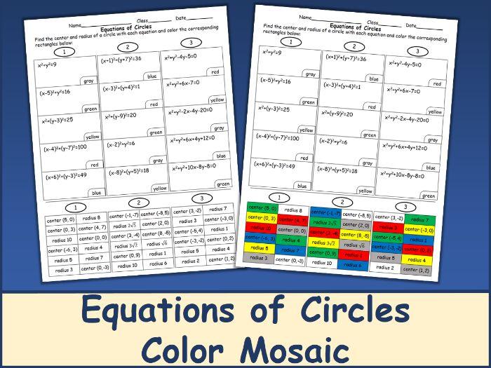 Equations of Circles Color Mosaic