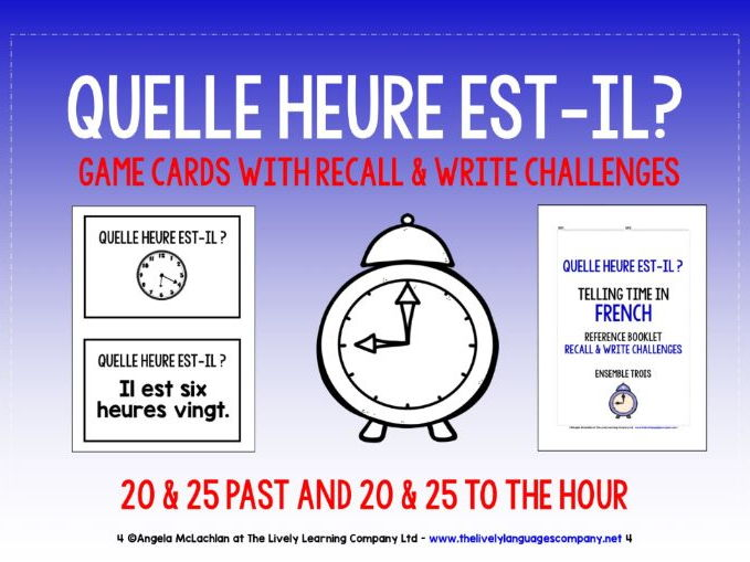 FRENCH TELLING TIME (3) - MATCHING CARDS & RECALL CHALLENGES