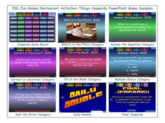Restaurant Activities-Things Jeopardy PowerPoint Game