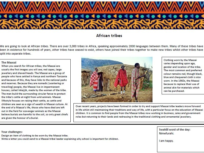 Africa Home Learning Topic Worksheets