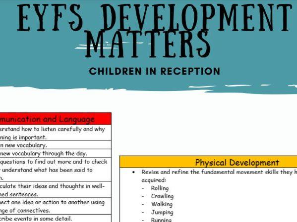 Development Matters for Reception Age Children (NEW 2021)