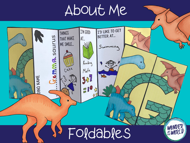 Dinosaur all about me foldables