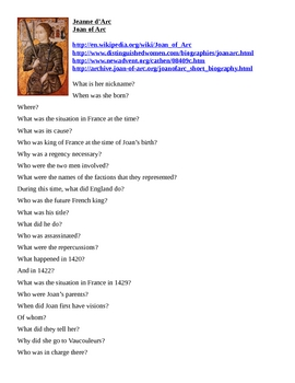 Jeanne d'Arc / Joan of Arc Webquest