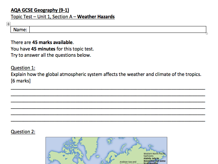 Weather Hazards Topic Test, AQA GCSE Geography (9-1)