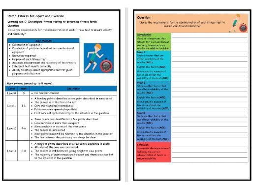 BTEC Sport (Level 2)- Unit 1 – Fitness Testing 4 Structure Strip (Long Answer Question)