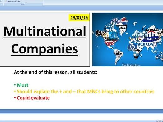 MNCs Multinational companies - A level Business / Economics