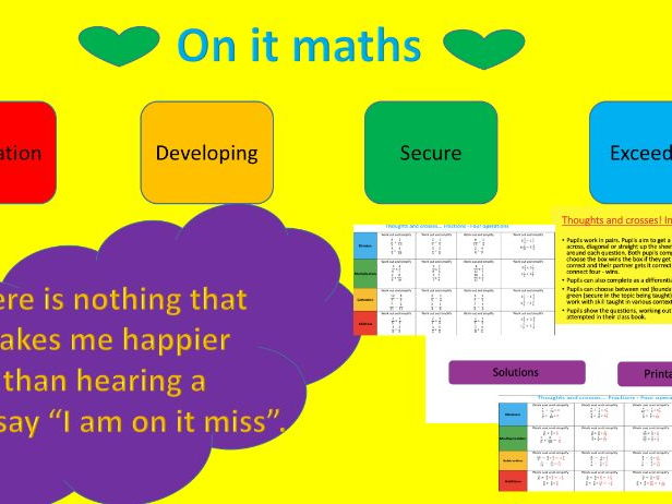 Fractions (Four operations) - Thoughts and Crosses