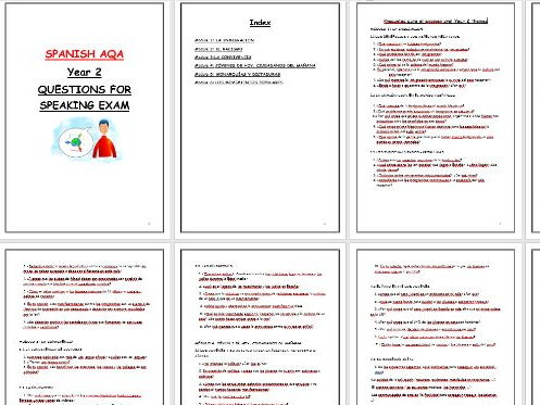 AQA A Level Spanish: Booklet with questions covering all Year 2 themes.  SPEAKING EXAM Part 1.