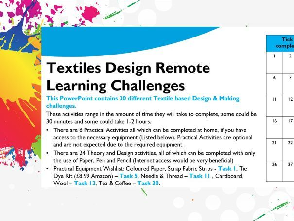 Textiles Remote Learning Challenges & Resources
