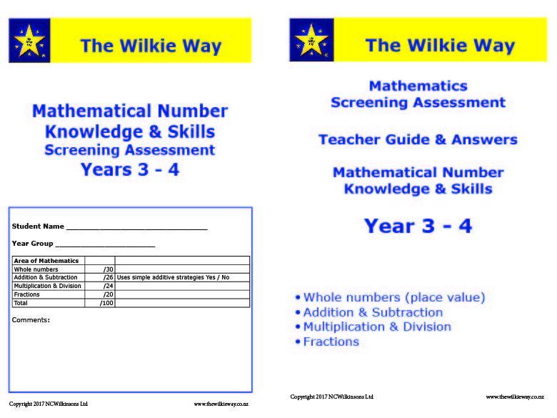 Assessment Screen Year 3 - 4