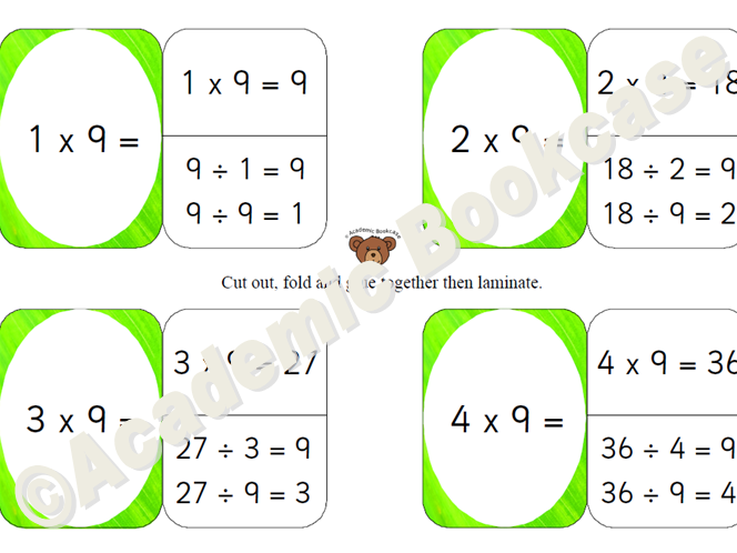 9 times table self check flashcards with inverse on the back