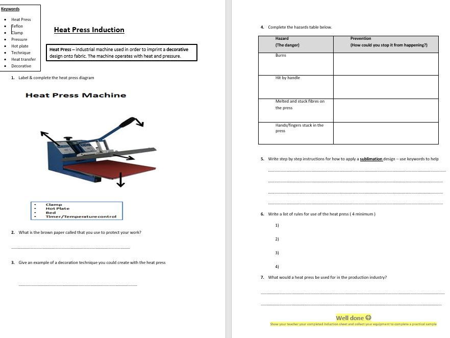 Health & Safety Student Heat Press Induction Worksheet - WHOLE LESSON ACTIVITY - Practical/Theory