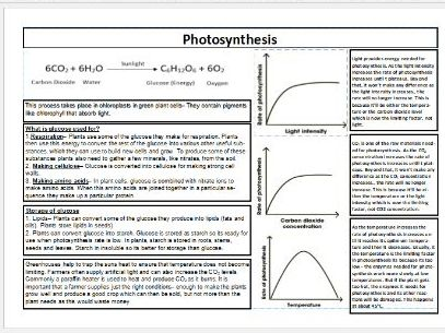 Photosynthesis Knowledge Organiser