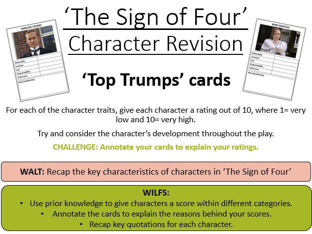 'The Sign of Four' Character Revision Top Trumps