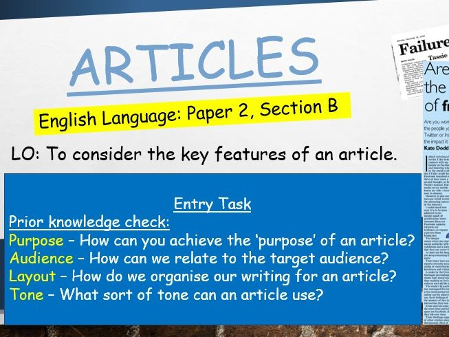 Transactional Writing - Articles scheme (metacognition approach)