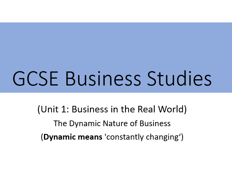 GCSE Business - Dynamic Nature of Business