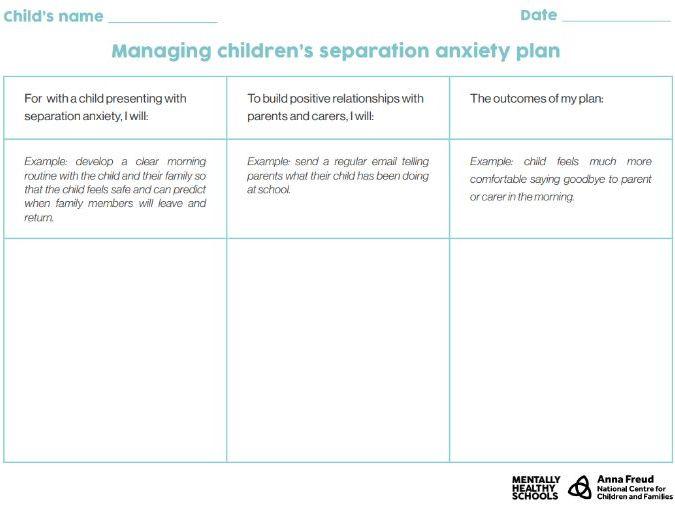 Managing children's separation anxiety plan