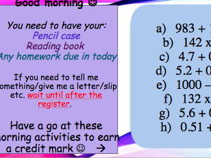 Morning activities English and Maths