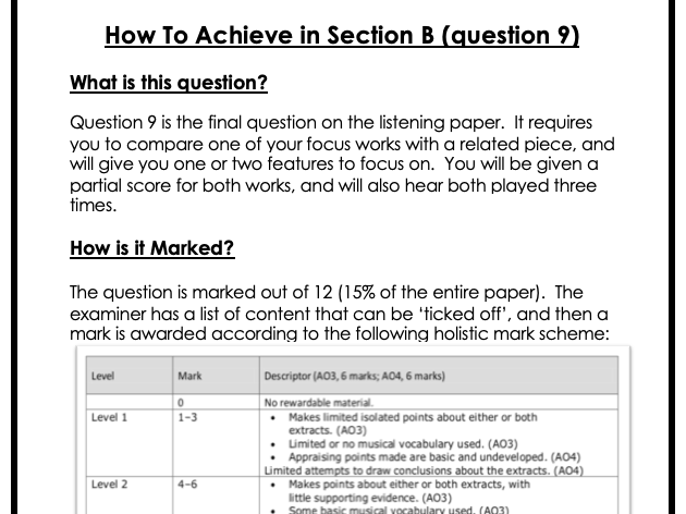 Edexcel GCSE Music Revision - how to achieve in section B