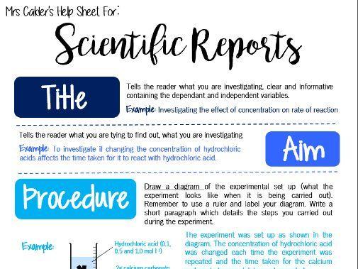Writing Scientific Reports Help Sheet