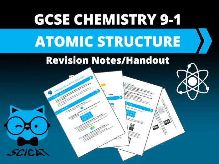 Chemistry GCSE (9-1) Atomic Structure Revision Notes Handout
