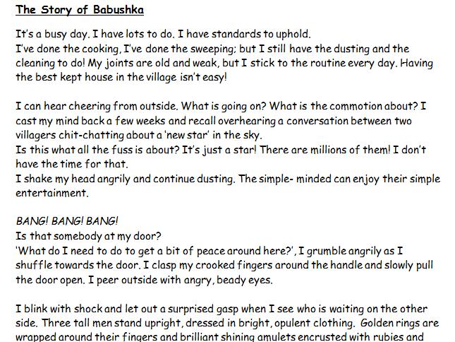 KS2 Russian Story of Babushka  first - hand descriptive account.