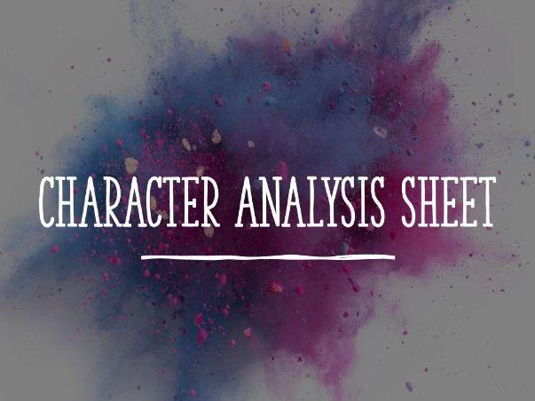 Character Acting Analysis Sheet