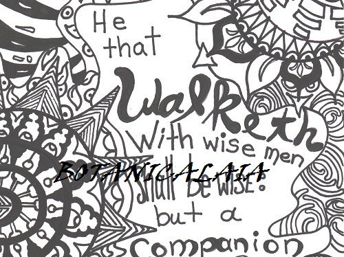 Proverbs 13:20 EMBELLISHED ADULT COLORING PAGE