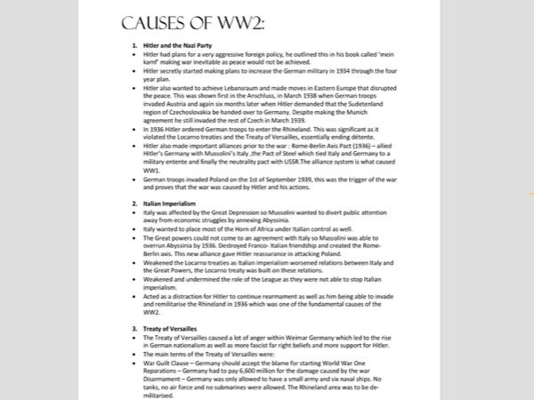 A Level History Causes of WW2