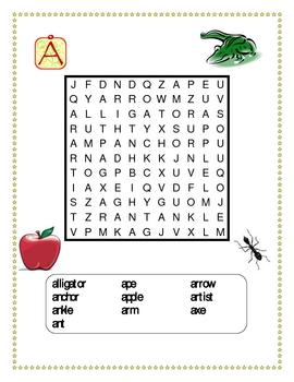 Alphabet in English Wordsearch